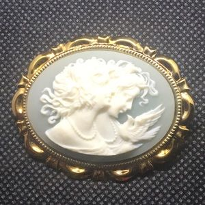 Vintage Carved Cameo Brooch Pin LGBT